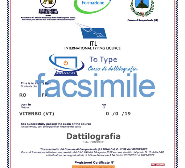 certificato dattilografia ATA